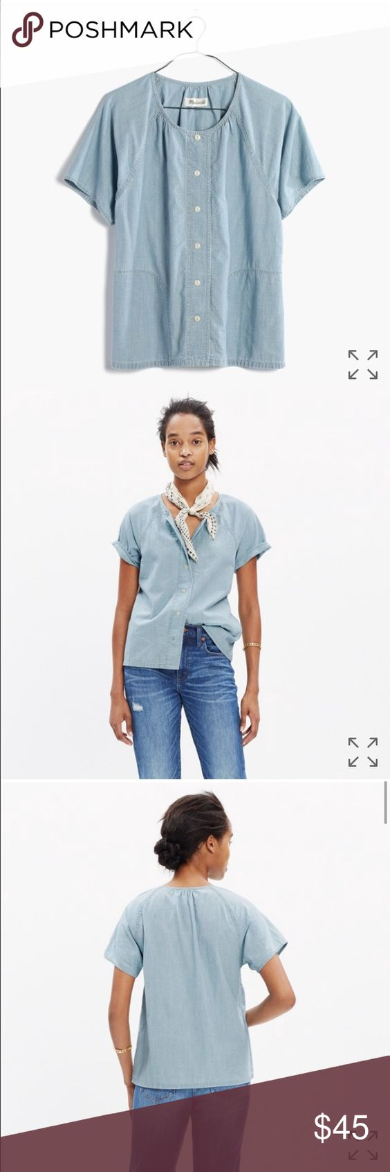 NWOT! Madewell Chambray Raglan Top A lightweight chambray shirt with easy raglan sleeves and (yes!) pockets. The light summery wash looks great with both white and darker denim.    True to size. Cotton. Machine wash. Madewell Tops