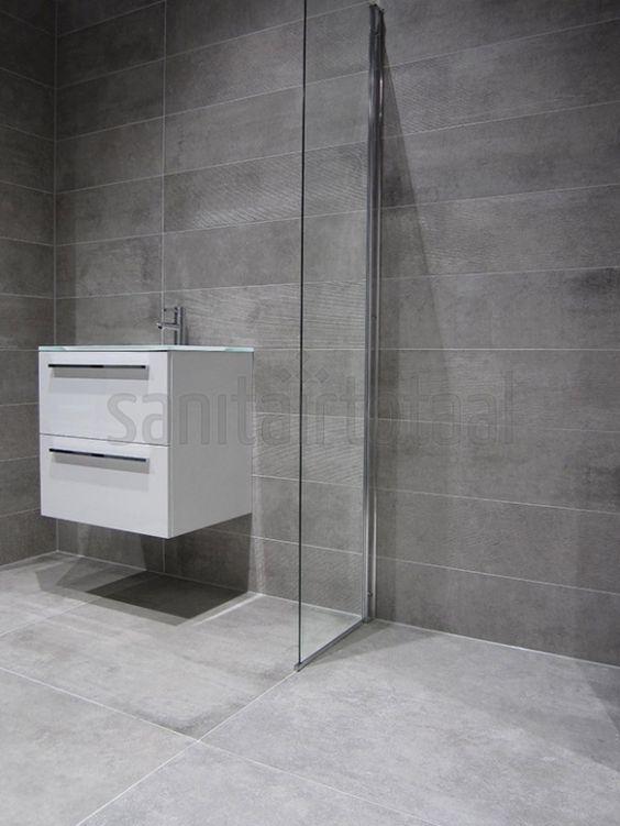 inloopdouche, badkamer tegels grijs, badkamermeubel, badkamer ideeen ...