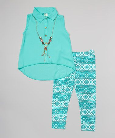 This Mint Hi-Low Button-Up Tunic Set - Toddler & Girls is perfect! #zulilyfinds