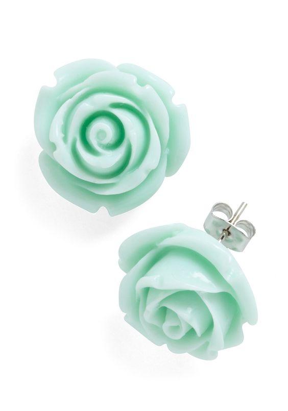 Mint Rose Petal Earrings