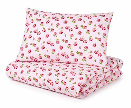 Cot Bed Duvet Cover and Pillowcase Set, Pink Roses Pixie…