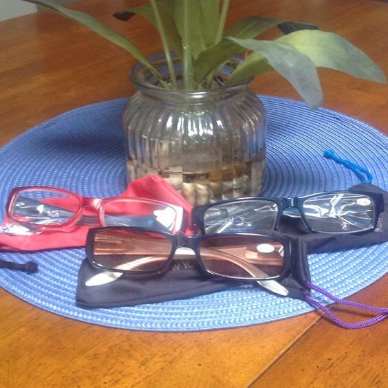 Joy Mangano Readers +3.50 - Multi Color Frames Receive all 3 Readers in a Multi Color Frames One is Dark Blue, Light Blue and Red. Glasses are new and never worn. Comes with soft cases for each. Magnifying strength +3.50 Joy Mangano Accessories Glasses
