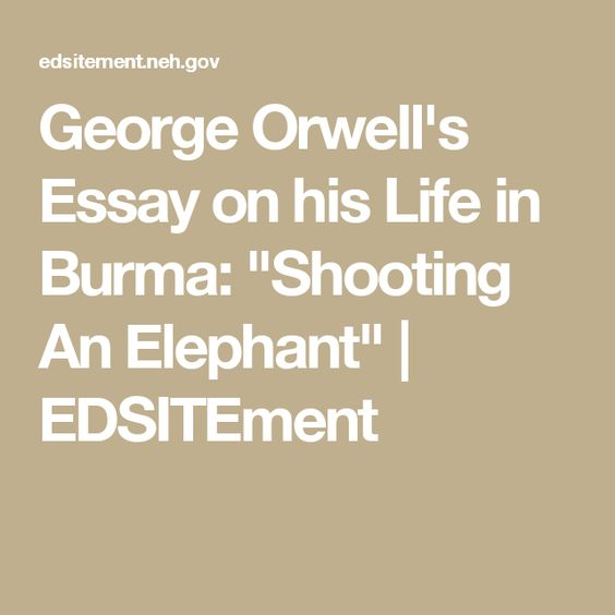 bull the world s catalog of ideas george orwell s essay on his life in burma shooting an elephant edsitement
