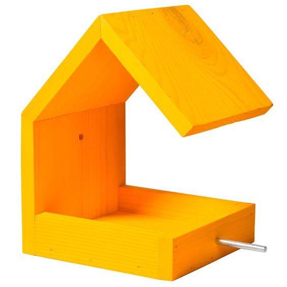 Dobar Design-Vogelfutterhaus mit Satteldach Gelb