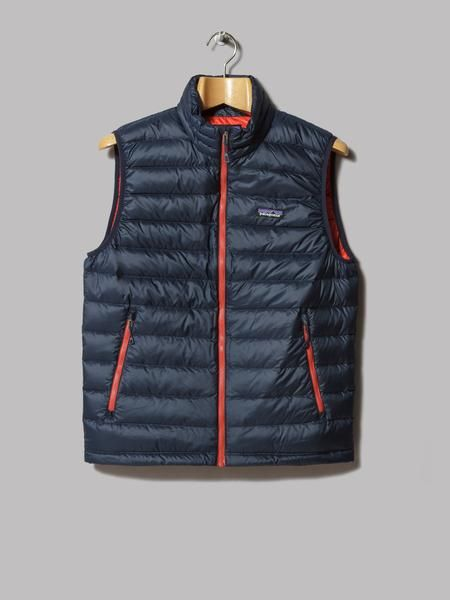 Patagonia Down Sweater Vest (Navy Blue / Ramble Red)