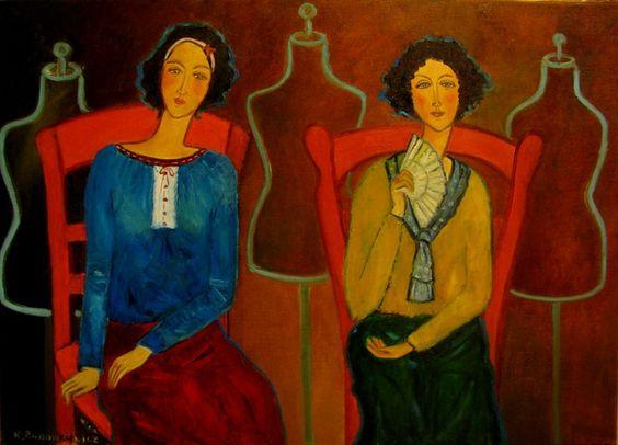 Krystyna-Ruminkiewicz - Dwie z manekinami II,50x70,olej