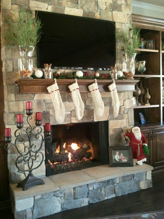 Mantles, Christmas mantles and Tv above mantle on Pinterest