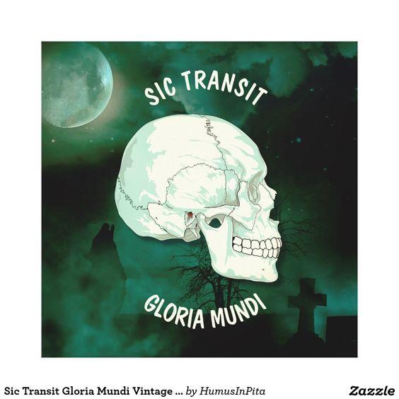 Sic Transit Gloria Mundi Vintage Turquoise Skull Canvas Print