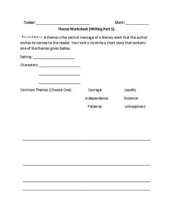 Theme Worksheet for going over a story read in class – Theme Worksheet
