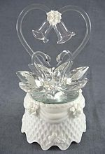 Crystal Swan Cake Topper With Porcelain Base