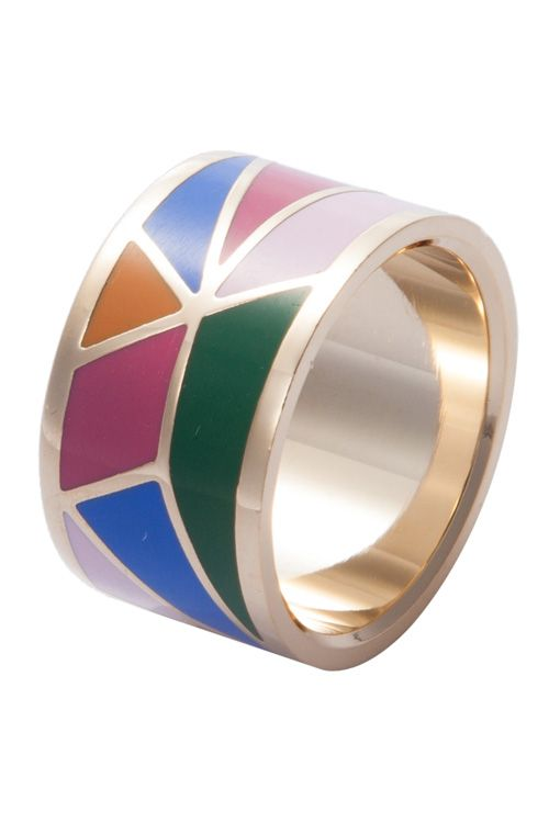 Wide Round Geometric Print Ring