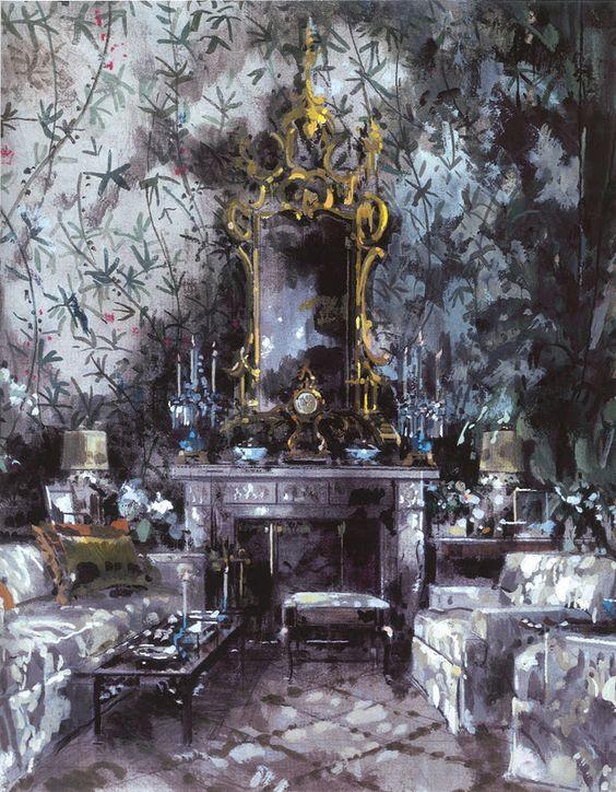Interior - Jeremiah Goodman -  Betsey Bloomingdale's Living Room - Watercolor by Jeremiah Goodman: