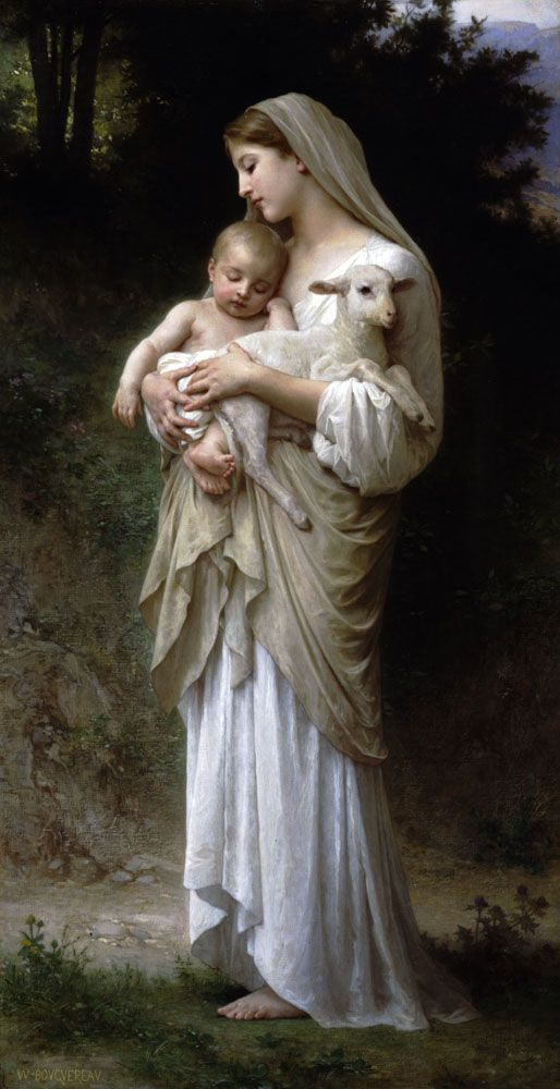 L'Innocence, William-Adolphe Bouguereau (1893). Both young children and lamb are symbols of innocence.