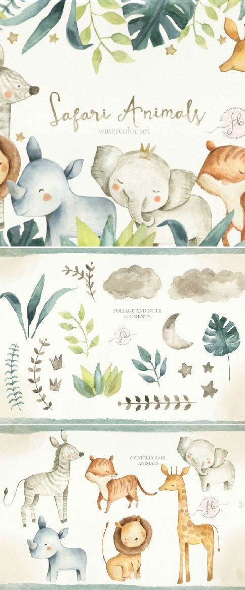 This Safari Animals Watercolor Clipart Set Includes 45 Items Of Hand Painted Watercolor Elements All Png Kids Clothes Diy Diy Kids Clothes Girls Diy For Kids