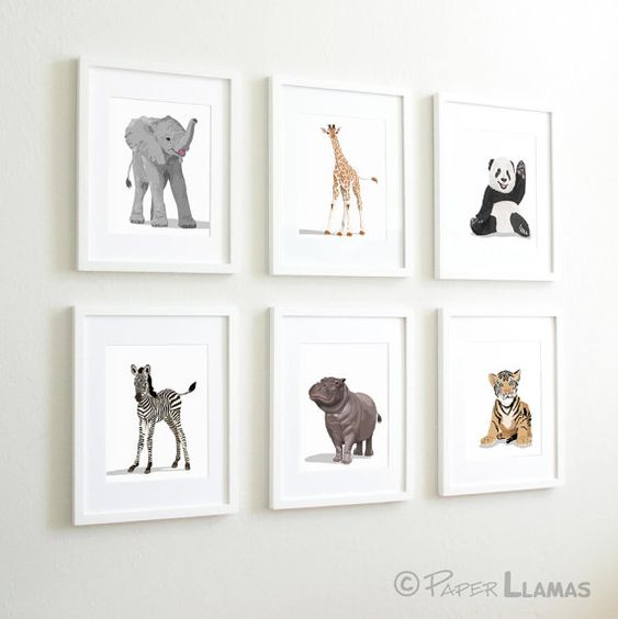 Baby Animal Nursery Art,  modern minimalist nursery decor, - set of six unframed prints - zoo animal, jungle animal childrens art