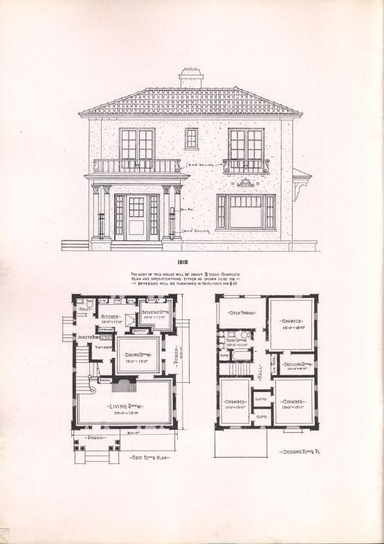 Wilson S Modern Homes No 5 Vintage House Plans Small House Floor Plans Architectural House Plans
