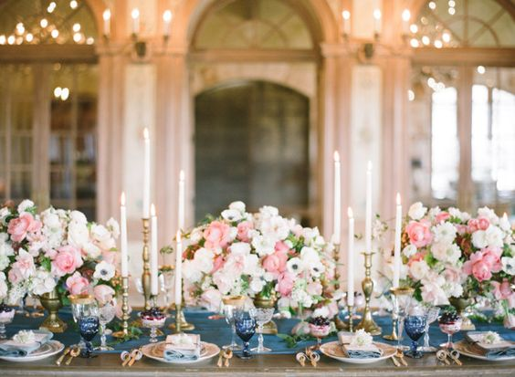 Elegant French Countryside Wedding | Bryan Miller Photography | Chic Parisian Wedding in French Blue, Gold Glitter, and Blush: