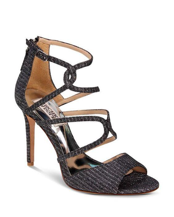 Badgley Mischka Devon Metallic Woven Strappy High Heel Sandals