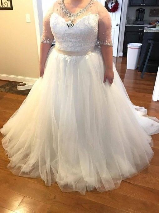 Elbow Length Sleeve Plus Size Wedding Dresses With Illusion Necklines In 2020 Plus Size Wedding Gowns Wedding Dresses Plus Size Plus Size Wedding