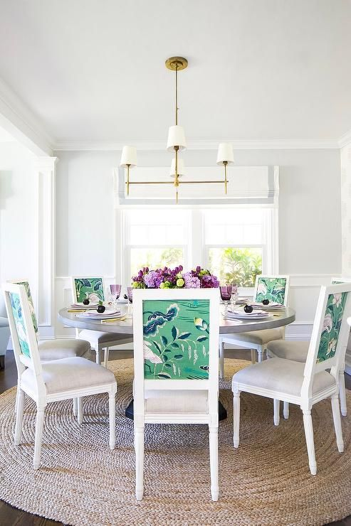 French Square Back Gray And Green Dining Chairs Sit On A Round