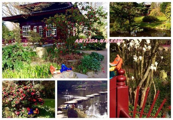 GarZenKunst , Collage, Fuchs im Japanischen Garten von Amylisa-Malerei   auf DaWanda.com