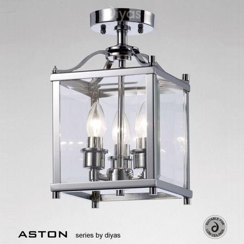 IL31100 Aston Semi Flush Ceiling Light - Traditional style 3 light semi  flush square ceiling lantern