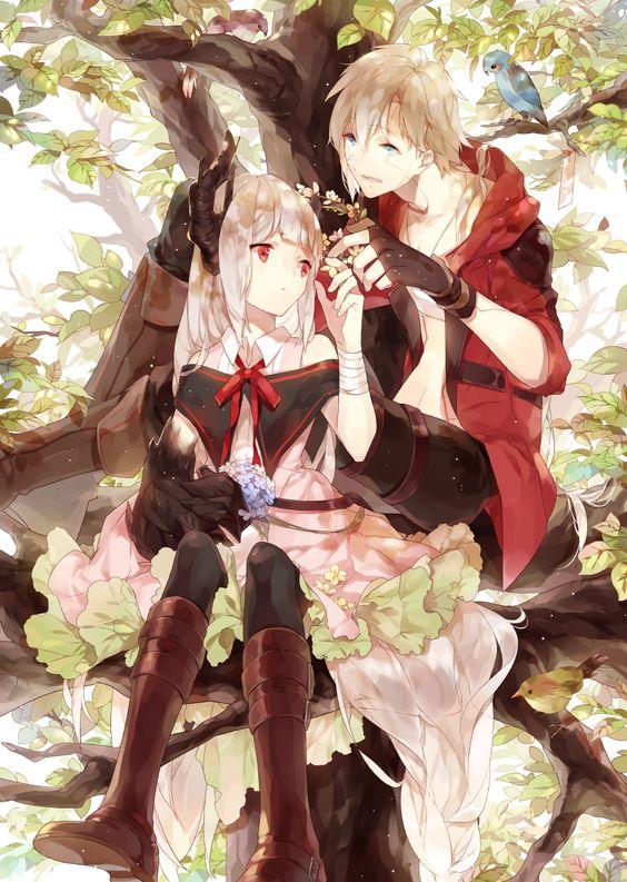✮ ANIME ART ✮ anime couple. . .romantic. . .love. . .sweet. . .demon girl. . .horns. . .long hair. . .boots. . .nature. . .tree. . .bird. . .cute. . .kawaii