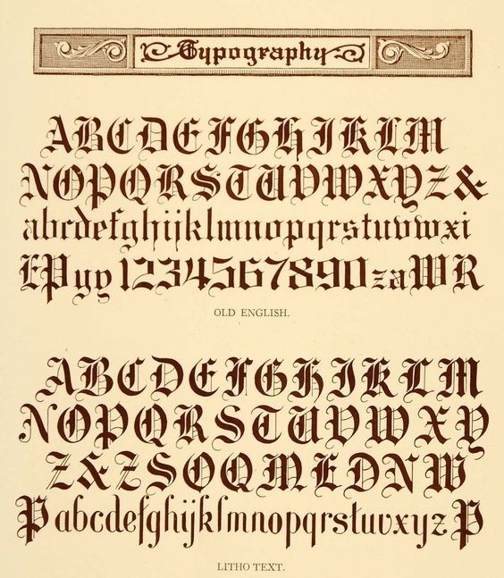 Lithograph typography alphabet old english font