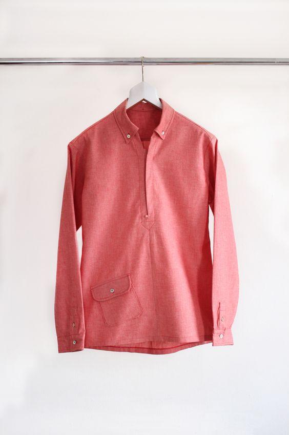 Red chambray popover shirt by Scott Fraser