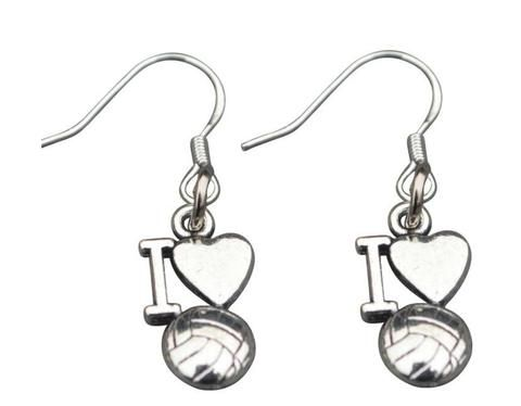 Love Volleyball Earrings With Images Volleyball Jewelry Crystal Necklace Pendant Moon Pendant Necklace