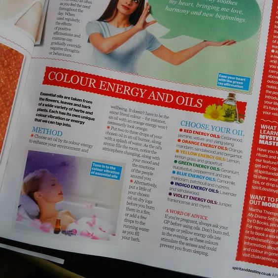 Found this a concise article on natural remedy oils based on colour in the April edition of Spirit&Destiny magazine.    https://twitter.com/PurityPsychics  http://facebook.com/PurityPsychics  www.pinterest.com/puritypsychics