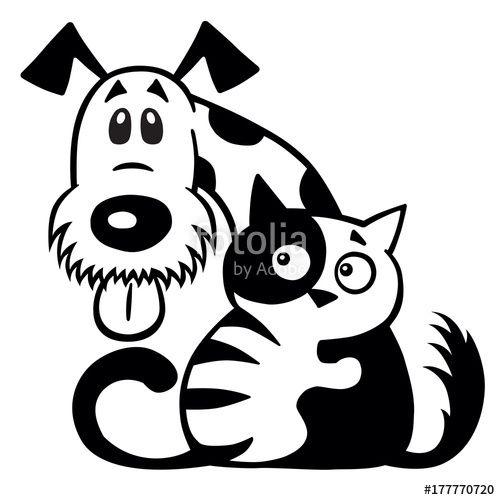 Cartoon Little Cat Hugging His Dog Friend Pets Friendship Black
