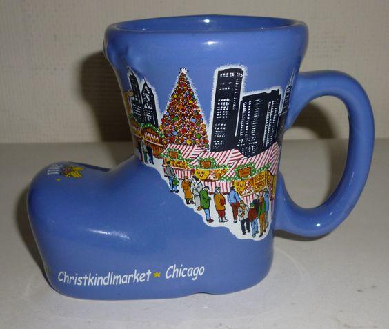 Blue Christkindlmarket Chicago Illinois Christmas Stocking Boot Mug