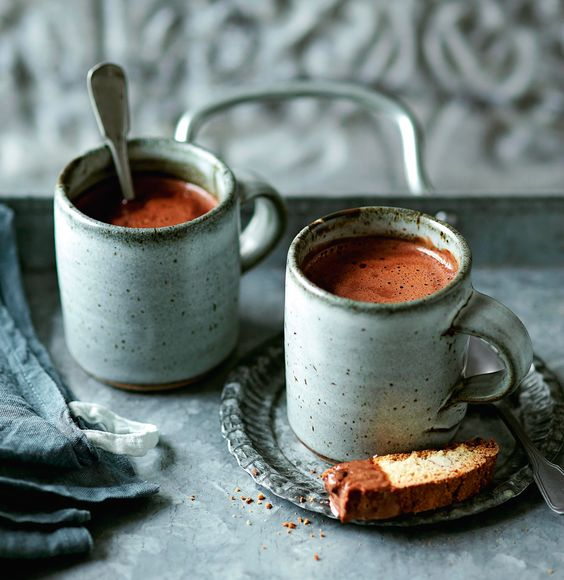 Recipe: Sea salt hot chocolate from Hot Chocolate by Hannah Miles, photography Steve Painter (Ryland Peters & Small). via @simplethings
