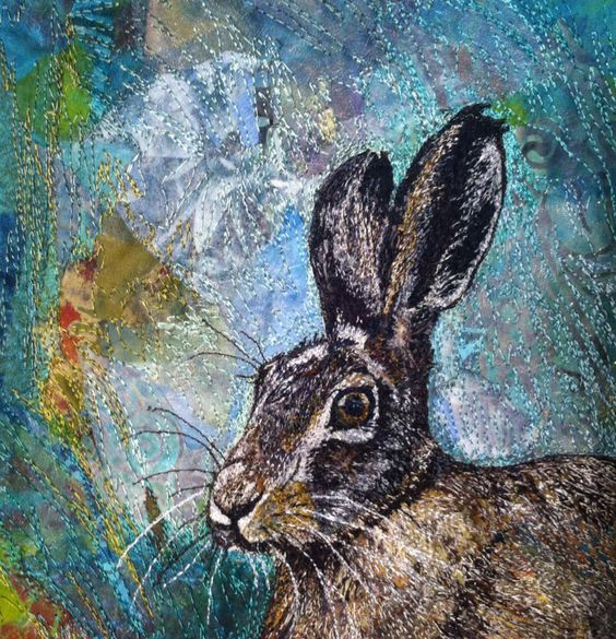 'Hare today, gone tomorrow' machine embroidery by Rachel Wright: