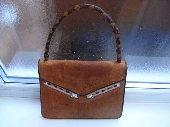 Vintage Art Deco Eygptian Revival Leather Handbag Bag 1930-1940