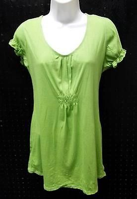 Mossimo Lime Green Short Sleeve Cotton Blouse Size Junior XXL B242