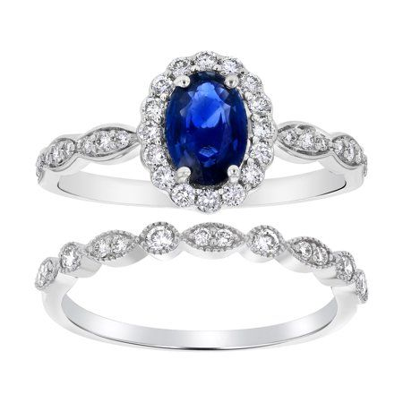 Oval Blue Sapphire And 1 2 Ct T W Diamond Frame Engagement Ring In 14k White Gold Gemstone Engagement Rings Blue Sapphire White Gold