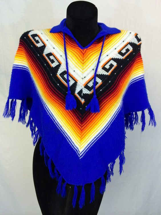 Vintage Multicolored Fringe Poncho by InTheRoughFashion on Etsy