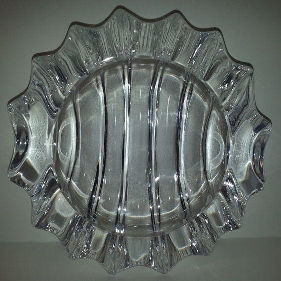 Mid Century Crystal Ash Tray Art Deco Ribbed by Snowyowltreasures