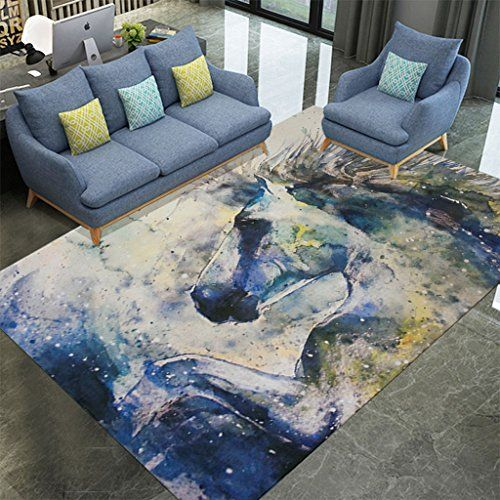 Nordic Modern Style Ink Art Horse Pattern Area Rugs Coffee Table Sofa Carpet Living Room Bedroom Bedside Rectangular C Washable Rugs Rug Pattern Soft Flannel