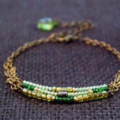 Bracelet bohème trois rangs vert et jaune
