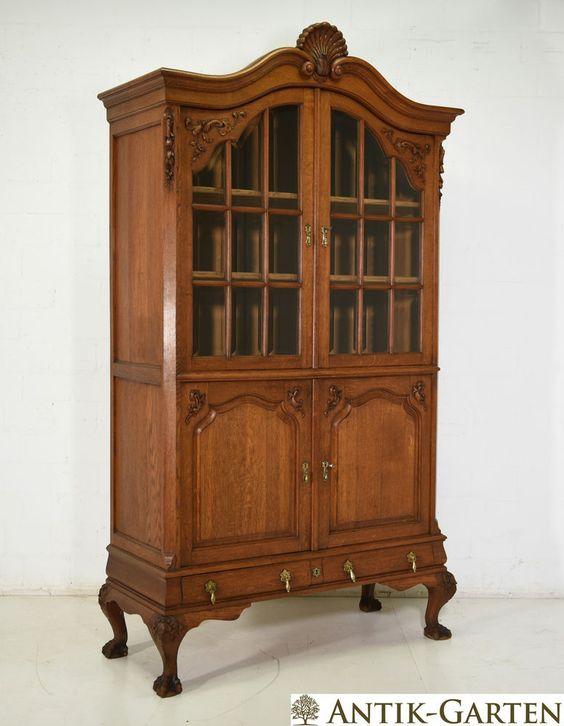 details zu antik vitrinen schrank eiche massiv neo barock um 1930 vitrine buffet. Black Bedroom Furniture Sets. Home Design Ideas
