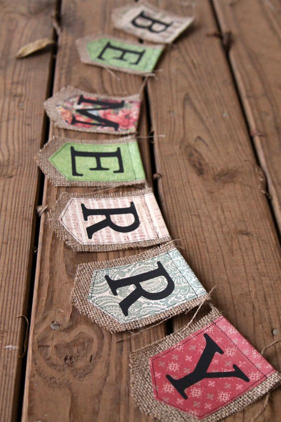 BE MERRY burlap Christmas banner by iwishedforyou on Etsy, $31.50
