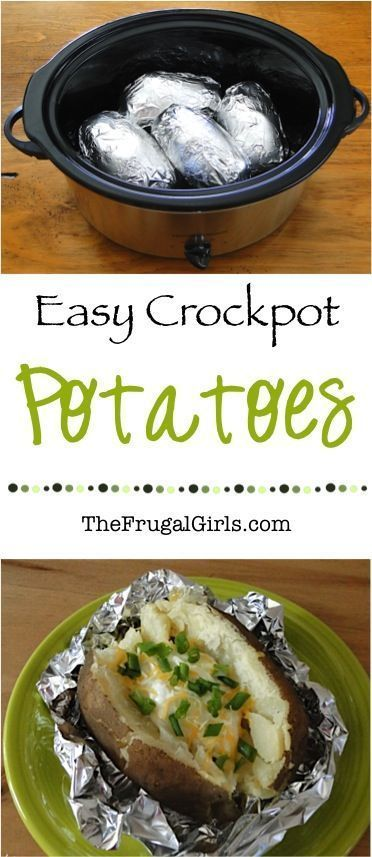 Crock Pot Baked Potatoes Recipe! ~ from TheFrugalGirls.com ~ you'll love this simple little Slow Cooker potato trick... delicious potatoes with hardly any effort!