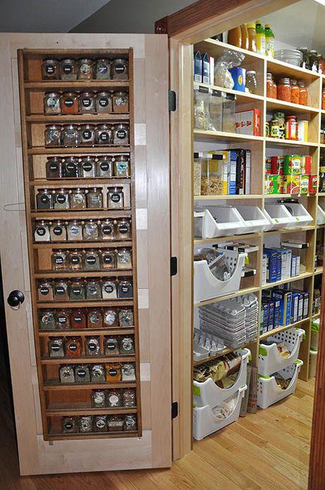 Spice rack on door.
