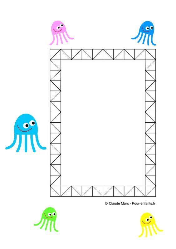 Frise maternelle maths frises GEOMETRIQUES ps ms gs frise DECORATIVE activités enfant école maternelle dessin de pieuvres frise ACTIVITE de coloriage