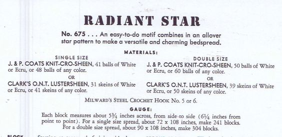 Vintage Crochet PATTERN for Bedspread 675 Radiant by BlondiesSpot
