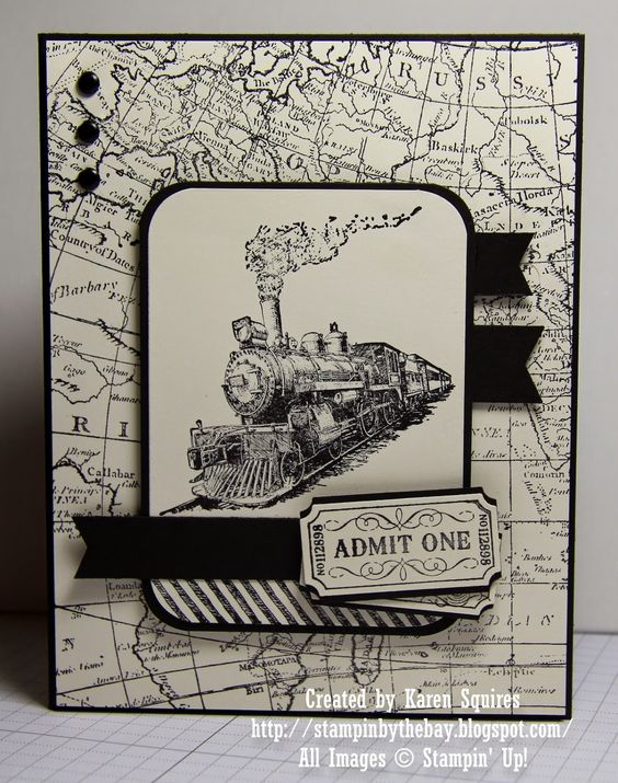 handmade card from Stampin' By The Bay: Traveler Admit One ... steam engine image focal point ... black and white ... map background paper ... good layout ... Stampin' Up!