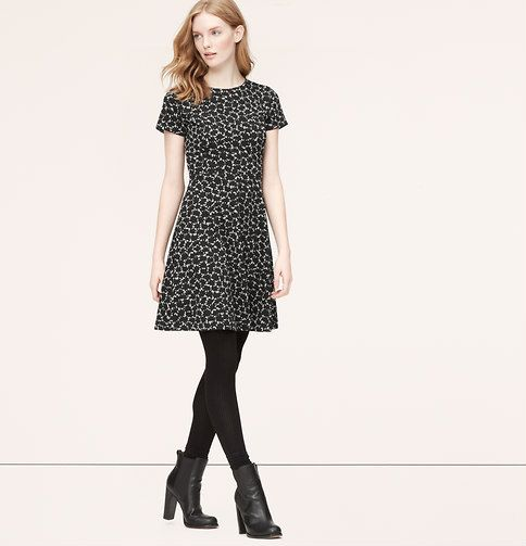 Abstract Jacquard Short Sleeve Dress - Sleeve dresses- Loft and ...